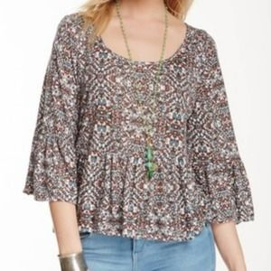 Free People Bell Sleeve Ruffle Peplum Blouse M